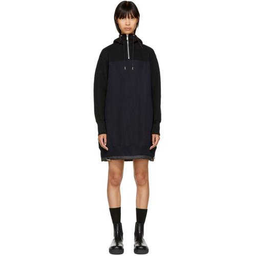 SACAI Black & Navy Sponge Hoodie Dress