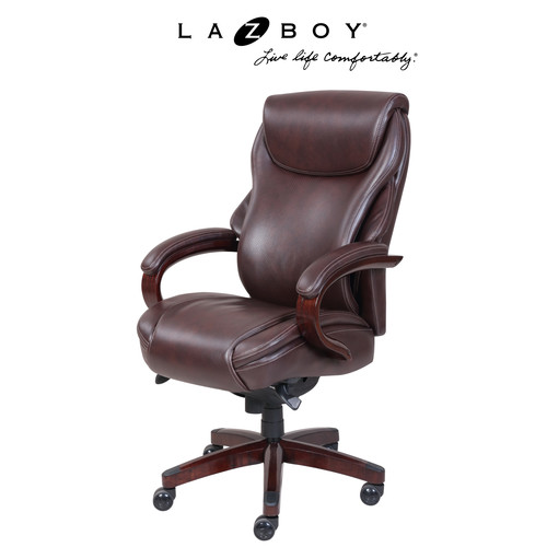 La-Z-Boy Hyland Comfort Core Traditions Air Technology Executive Office Chair-Coffee Brown