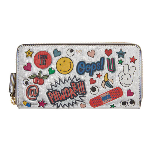 ANYA HINDMARCH Silver All-Over Stickers Zip Around Wallet