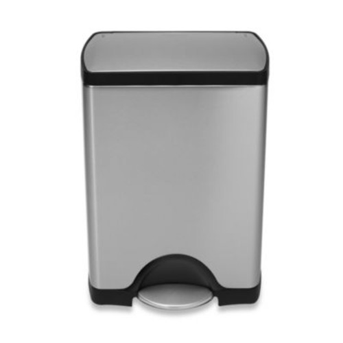 simplehuman Deluxe Stainless Steel Fingerprint-Proof Rectangular 30-Liter Step-On Trash Can