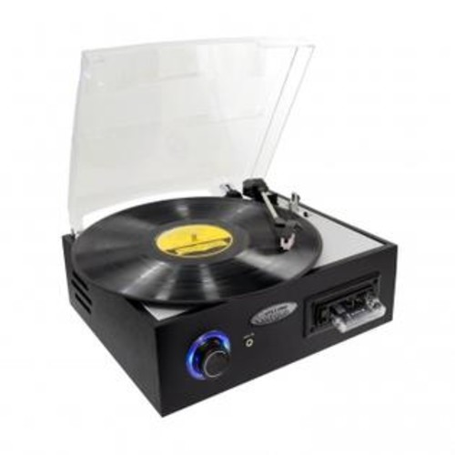 Pyle PTTC4U Multifunction Turntable With MP3 Recording USB-to-PC Cassette Playback