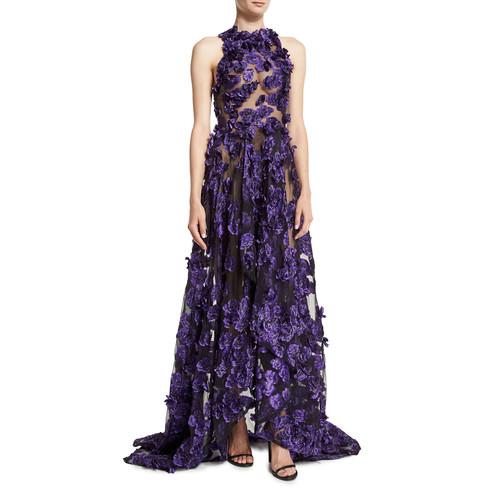 JASON WU Sheer Sleeveless Gown W/Allover Floral Appliques, Black/Iris