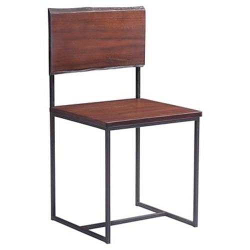 Rustic Oak Wood and Metal Dining Chair (Set of 2) - Distressed Cherry - ZM Home