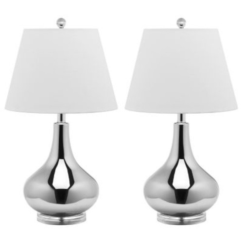 Amy Gourd Glass 1-light Silver Table Lamps (Set of 2)