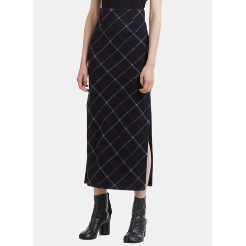 Long Felted Plaid Pencil Skirt in Navy