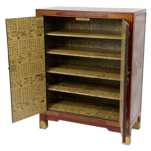 Oriental Furniture Nestling Birds Shoe Cabinet in Red Lacquer Finish