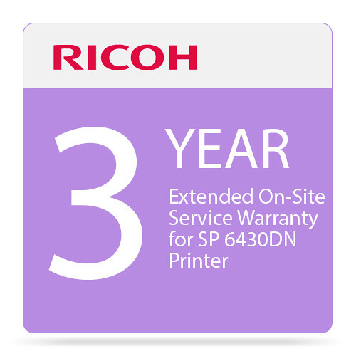 Three-Year Extended On-Site Service Warranty for SP 6430DN Printer