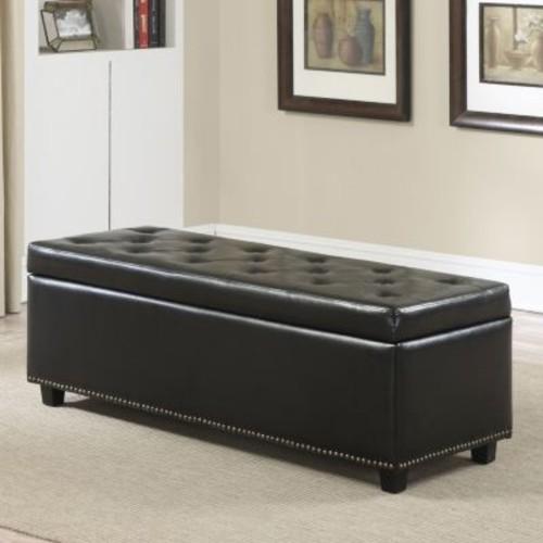 Simpli Home Hamilton Faux-Leather Storage Bench