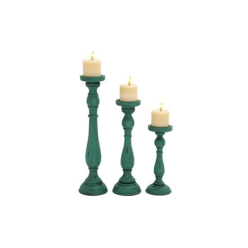Wood Teal Candle Holders (Set of 3)