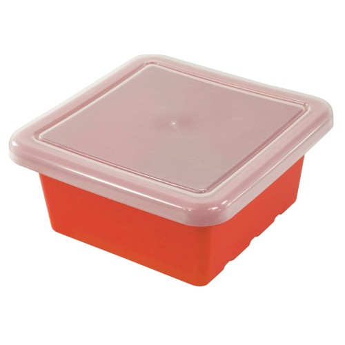 ECR4Kids Square Storage Tray With Lid; Red