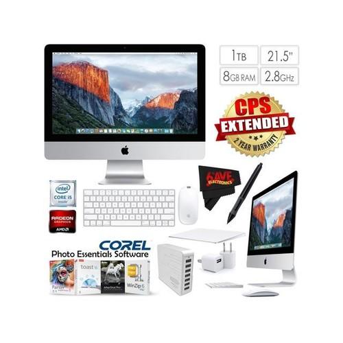 Apple iMac MK442LL/A 21.5-Inch Desktop 2.8GHz 8GB RAM 1TB HDD + 7 Port USB Hub (White) + Travel USB 5V Wall Charger for iPhone/iPad (White) Bundle