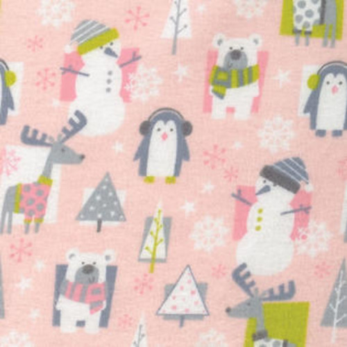 Trend Lab Nursery Kids Baby Snow Pals Pink Deluxe Flannel Fitted Crib Sheet