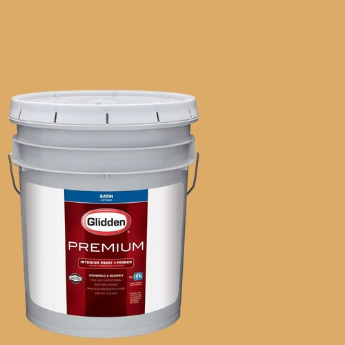 Glidden Premium 5 gal. #HDGY08 Gold Strike Satin Interior Paint with Primer