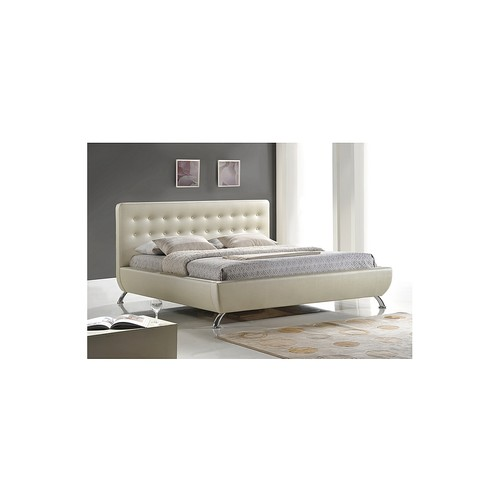 Elizabeth Pearlized Almond Modern Queen Size Bed with Upholstered Headboard