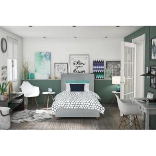 Dorel Alexander Twin Upholstered Twin Bed - Light Grey Linen