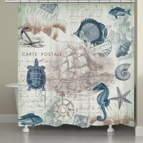 Laural Home Seaside Postcard Shower Curtain