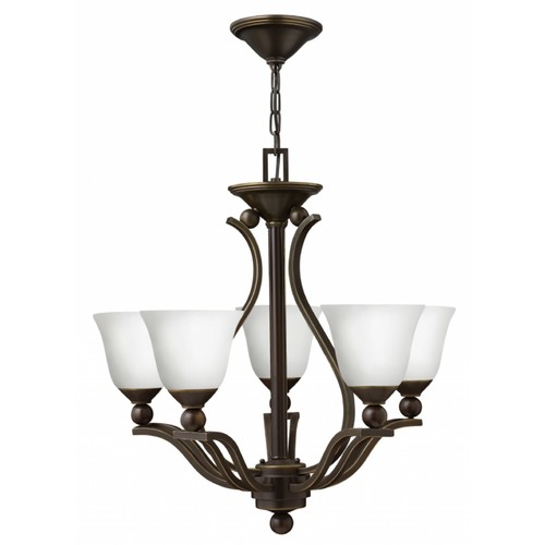 Hinkley Lighting 4655-OPAL Bolla 5 Light 1 Tier Chandelier with Etched Opal Shade