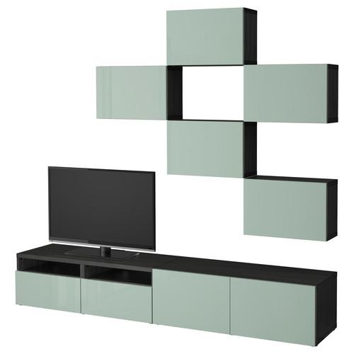 BEST TV storage combination, white, Selsviken high-gloss/white [drawer : drawer runner, push-open]