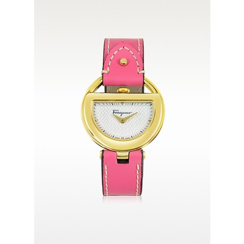 Buckle Collection Gold IP Stainless Steel Case and Fuchsia Leather Strap Women's Watch