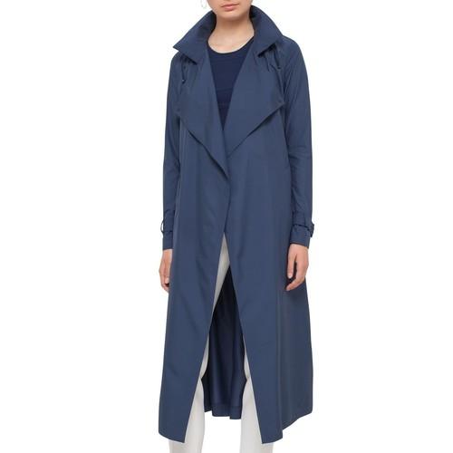 AKRIS PUNTO Long Hooded Trenchcoat, Deep Blue