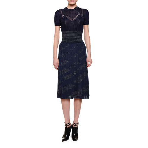 BOTTEGA VENETA Embellished-Yoke Pleated-Skirt Dress, Dark Lavender