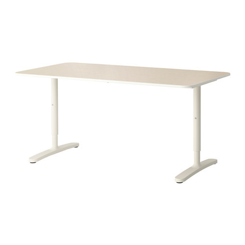 BEKANT Desk, gray, white