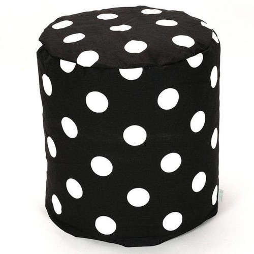 Majestic Home Goods Ottomans & Storage Ottomans Majestic Home Goods Black Large Polka Dot Pouf