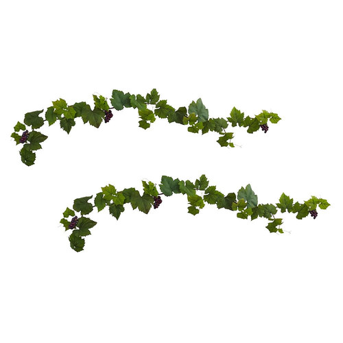 Nearly Natural Grape Leaf Deluxe Garland with Grapes Silk Plant - Set of 2