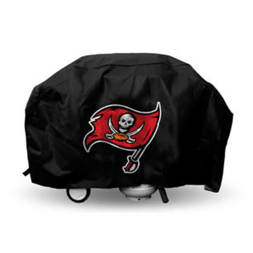 Rico Tampa Bay Grill Cover with Buccaneers Logo on Black Vinyl - Deluxe