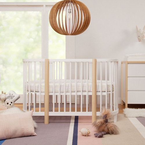 Babyletto Hula Oval Convertible Crib - White and Washed Natural