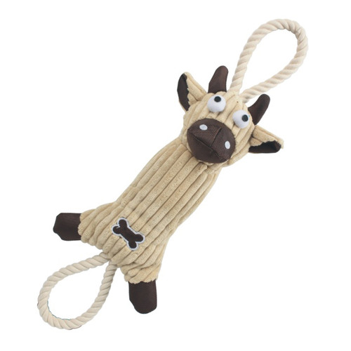 Jute And Rope Plush Cow - Pet Toy