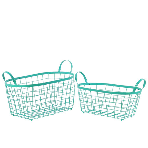 Metal Rectangular Wire Basket with Handles (Set of Two)