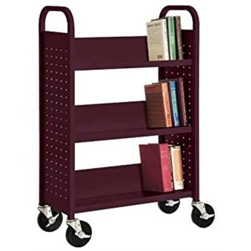 Sandusky Lee SL330-03 Single Sided Sloped Shelf Book Truck, 14