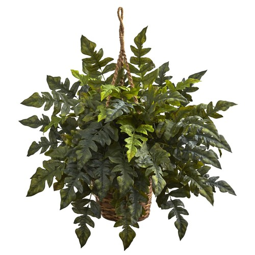 Nearly Natural 6912 Holly Fern Hanging Basket