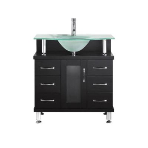 Virtu USA Vincente 32 in. Vanity in Espresso with Glass Vanity Top in Frosted Glass MS-32-FG-ES