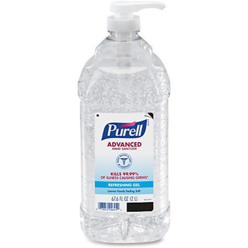 PURELL Economy Size Pump Hand Sanitizer - 67.6 fl oz (2 L) - Pump Bottle Dispenser - Kill Germs - Hand - Clear - Moisturizing, Fragrance-free - 4 / Carton