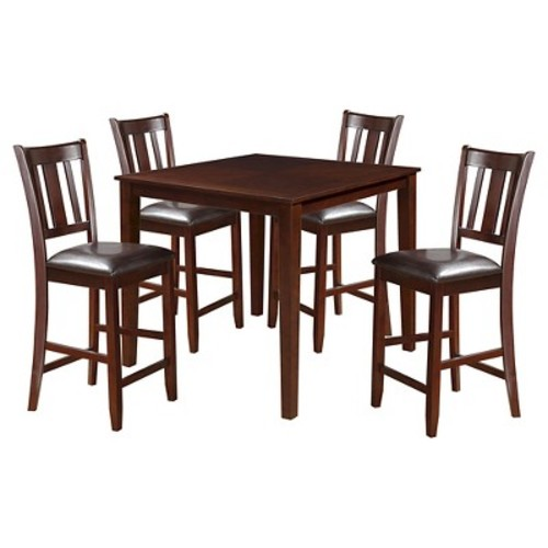 5 Piece Odran Counter Height Dining Set Wood/Espresso/Espresso PU - Acme