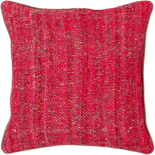 Textured Contemporary Silk Fabric Pillow - Red/Natural