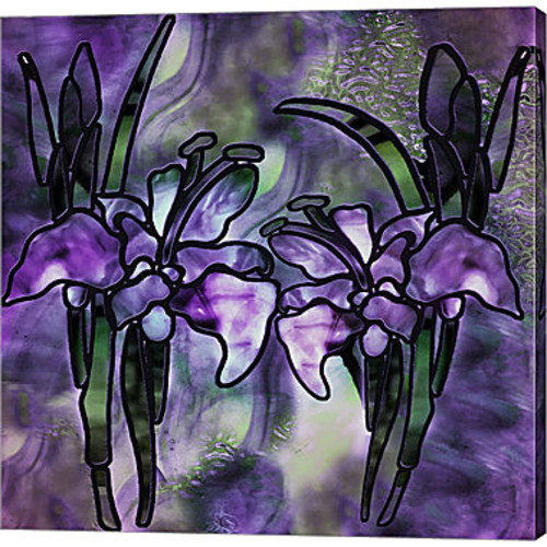 Metaverse Art Stained Glass Orchids Gallery Wrapped Canvas Wall Art