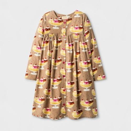 Happy by Pink Chicken Girls' Banana Split Woven A Line Dress - Beige