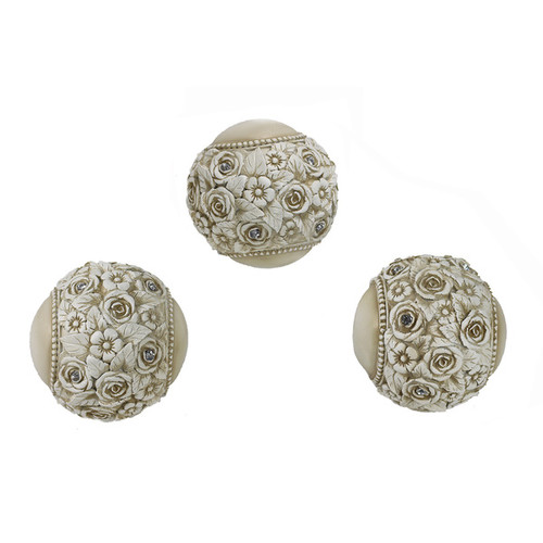D'Lusso Designs Cassia Collection Ivory Resin Decorative Orbs (Pack of 3)