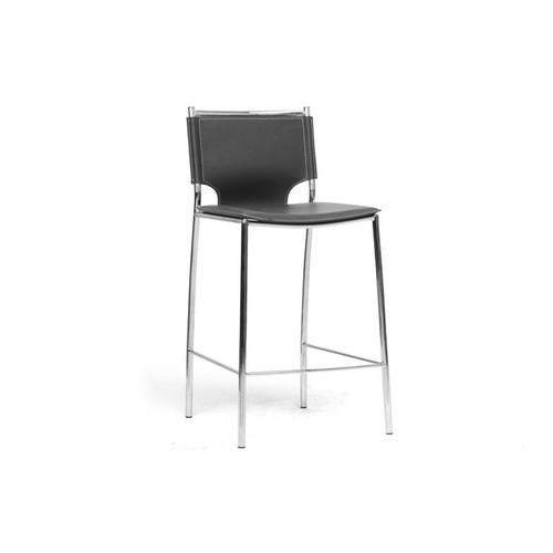 Baxton Studio Montclare Black Leather Modern Counter Stool (Set of 2)