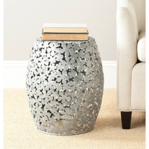 Abbyson Madison Silver Chrome Ceramic Garden Stool