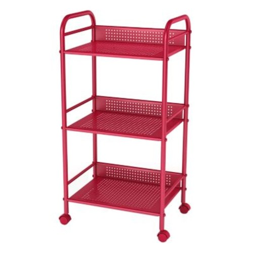 3 Tier Shelving Cart with Casters - Red