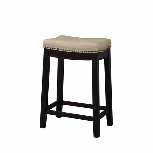 Linon Hampton Fabric Top Counter Stool, Beige, 24 inch Seat Height