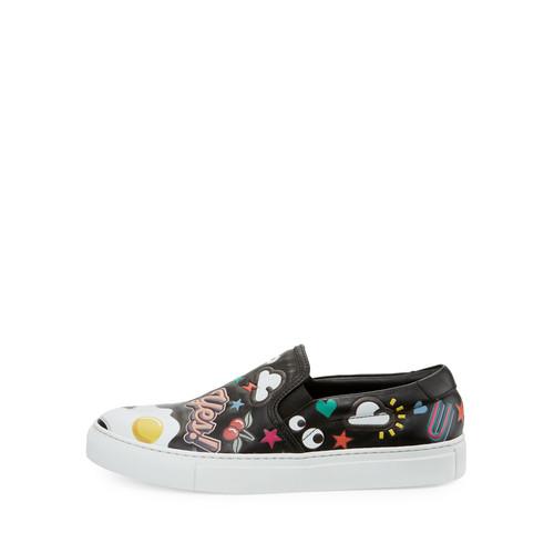 ANYA HINDMARCH Skateb Sticker Slip-On Sneaker, Black/Multi