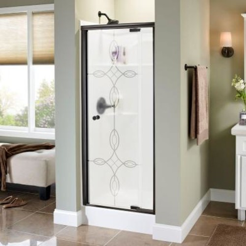 Delta Lyndall 31 in. x 66 in. Semi-Frameless Pivot Shower Door in Bronze with Tranquility Glass