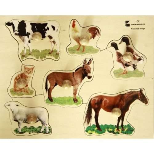 Edushape Large Knob Puzzle Farm Animal, 4 Piece [Farm Animal]