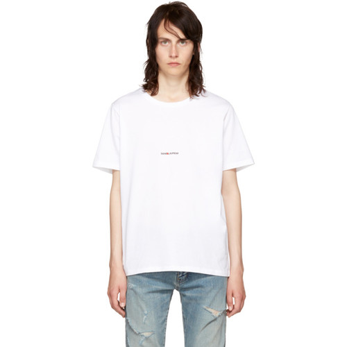 SAINT LAURENT White Rive Gauche T-Shirt