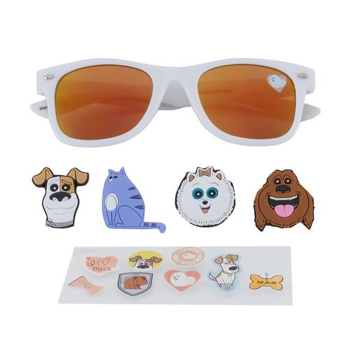 Girls 4-6x DreamWorks The Secret Life of Pets Max, Gidget, Chloe & Duke 3D Character Retro Square Sunglasses
